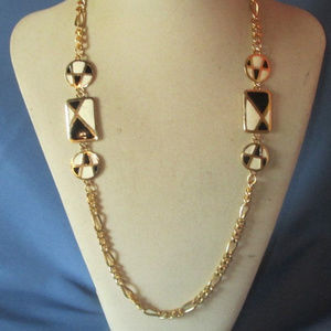 vintage enamel white black station necklace gold